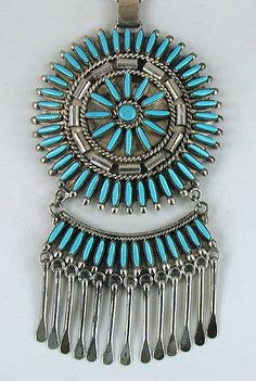 Authentic Native American Vintage sterling silver Turquoise Needlepoint Set by Zuni Libert Peketewa