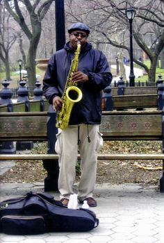 Jazz player in Central Park, NYC ~ by Laurie Leal