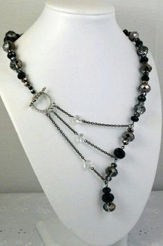 Love the side closure with multi strands Black and Silver Crystal Adrienne Adelle Signature Necklace on Etsy Wire Jewelry, Jewelry Crafts, Jewelry Art, Unique Jewelry, Beaded Jewelry, Jewelery, Jewelry Accessories, Jewelry Necklaces, Bijoux Design