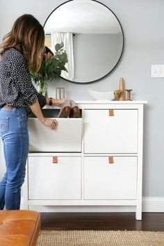 We just can't get enough of IKEA hacks! Today's roundup is dedicated to the best IKEA shoe cabinet hacks – let's style your entryway at its best without sacrificing the space. Shoe Storage Solutions, Entryway Shoe Storage, Ikea Storage, Bedroom Storage, Storage Ideas, Diy Bedroom, Organization Ideas, Cabinet Storage, Bedroom Small