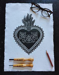 Sacred Heart lino print. Linoprint, Cursed Child Book, Sacred Heart, Traditional Tattoo, Handmade Art, Lino Cuts, Tattoos, Prints, Vacation