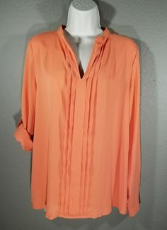 41 Hawthorne STIRCH FIX M Peach Top Blouse Pleated Front Long Tab Sleeve V Neck | Clothing, Shoes & Accessories, Women's Clothing, Tops & Blouses | eBay!