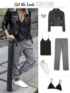 Jacket and black cami frankie hearts fashion: get the look: edgy chic Sneakers Fashion Outfits, Edgy Outfits, Mode Outfits, Fall Outfits, Fashion Trainers, Church Outfits, Fashion Sandals, Grunge Outfits, Fashion Clothes
