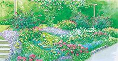 Einen Hang zu bepflanzen bedeutet eine echte Herausforderung.  Mit der richtigen Pflanzenauswahl  können  Sie  jedoch auch ein abschüssiges Gelände   in ein wunderschönes Hangbeet verwandeln. Hier finden Sie zwei Gestaltungsideen mit Pflanzplänen zum Herunterladen.
