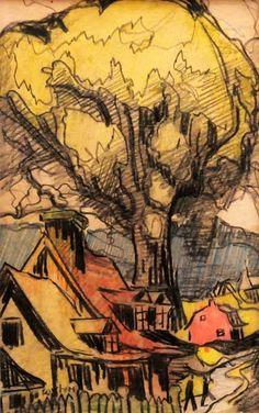 Marc-Aurèle FORTIN - Sans titre (Maison et arbre) c. 1945 Canadian Painters, Cityscapes, Quilt Making, Les Oeuvres, Art Ideas, Landscapes, Sketch, Sculpture, Fine Art