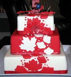 Canada Day / Birthday Cake Canada Day 150, Canada Day Party, Wedding Cake Cookies, Wooden Cake, Canadian Food, Specialty Cakes, Time To Celebrate, Tiered Cakes, Cakes And More
