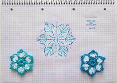 Flower pattern crochet Diagrama de un motivo de ganchillo en forma de flor. Blue and white @AngelesAntolin