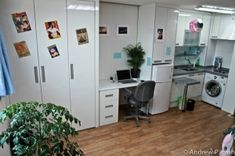 OK, these officetel's are tiny, but they all have washer/dryers! As a New Yorker, I am impressed. by amie Micro Apartment, Tiny Apartments, Apartment Plans, Studio Apartment, Bungalow, Bedsit, Loft Studio, Guest Suite, Tiny Living