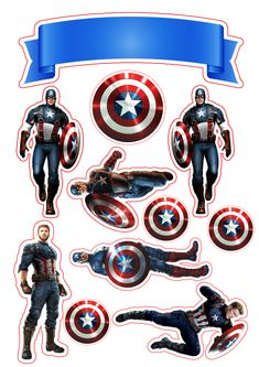 Captain America: Free Printable Cake and Cupcake Toppers. - Oh My Fiesta! for Geeks Captain America Party, Captain America Birthday, Imprimibles Toy Story Gratis, Captain Amerika, Avenger Cake, Avengers Birthday, Superhero Party, Iron Man, Free Printables