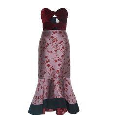 Johanna Ortiz Lavina Strapless Fluted Dress (€1.700) ❤ liked on Polyvore featuring dresses, johanna ortiz, print, pattern dress, strapless midi dress, purple strapless dress, purple midi dress and print dresses