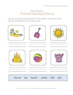 Summer Spelling Practice Worksheet