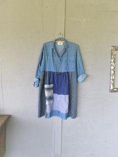 upcycled clothing patchwork denim shirt dress Aline tunic