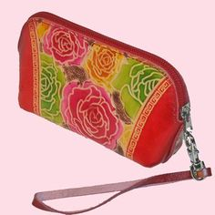 Genuine Leather Wristlet Change Purse, Colorful Flowers Embossed, Joyful Design -1 $19.99