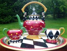 Hand Painted Silver Plated Tea Set by paintingbymichele on Etsy