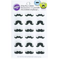 Black Mustache Icing Decorations