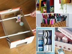 ~ Have spare shoe boxes in your closet? Before you toss them in a big spring cleaning session, consider reusing them around the house.
