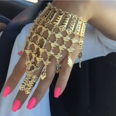 Gold Dope Hand Chain Statement Jewellery Fashion Accessories FrugalFindNyc