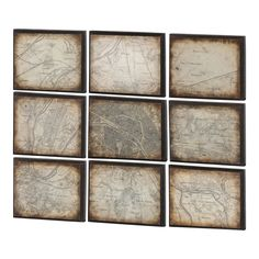 this eye-catching canvas and wood wall decor, showcasing an antiqued map motif for vintage-inspired appeal. Wall Decor Set, Wood Wall Decor, Texture Mapping, Texture Art, Map Artwork, Old Book Pages, Diy Canvas, Cartography, Beautiful Space