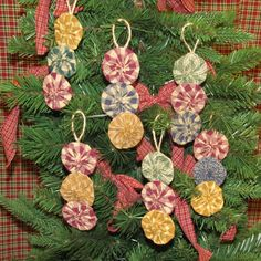 Gumdrops Fabric Yoyo Christmas Ornament. Set of 6 for only $9.95 from Jubilee Fabric.