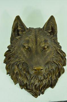 Hot Cast Bronze Wolf Head Wolves Bust Wall by EuropeanBronze
