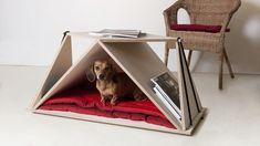 Casinha de cachorro e mesa Nidin / Fabbricabois,via Fabbricabois