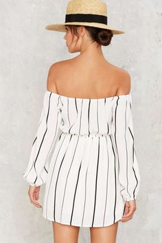 Line of the Times Off-the-Shoulder Dress - White http://www.nastygal.com/clothes-dresses/line-of-the-times-offtheshoulder-dress--white