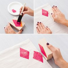 Use foam and wood blocks to make stamps to DIY placemats.