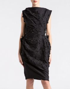 Mid-Length Dress draped with GUIPURE LACE , COTTON * BLACK *  http://www.lanvin.com/e-lanvin/US//sale-1/women/ready-to-wear/draped-dress-26770.html?color=BLACK&colorid=145#