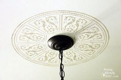 How to stencil a faux ceiling medallion http://www.prettyhandygirl.com/2011/09/creating-a-faux-ceiling-medallion-with-cutting-edge-stencils.html