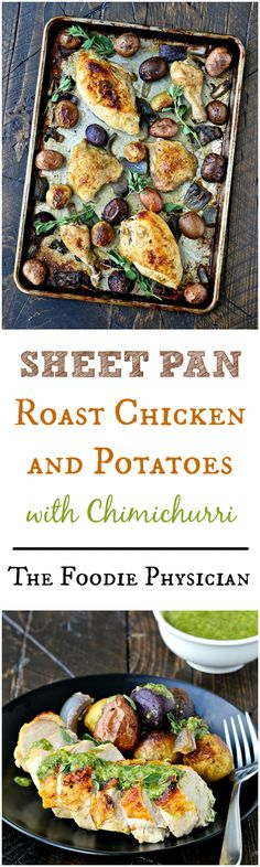 Sheet Pan Roast Chicken and Potatoes with Chimichurri {AD} | @foodiephysician