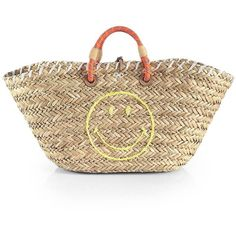 Anya Hindmarch Smiley Raffia Tote featuring polyvore, fashion, bags, handbags, tote bags, apparel & accessories, anya hindmarch tote, woven purse, woven beach tote, beige purse and raffia tote