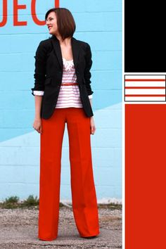 loving the red pants... actually, just loving the whole outfit.