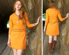 70s Vintage Orange MINI DRESS Mod Ultra Suede Trim TWEE Indie rock skater Skirt V-Neck long sleeved Mid Century Woman Small Fall Shift Dress by HarlowGirls on Etsy
