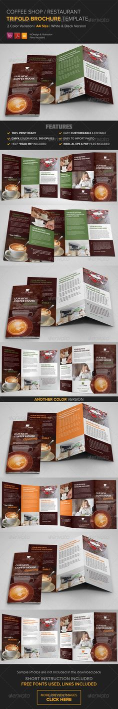 Coffee Shop - Trifold Brochure Template Brochure template - coffee shop brochure template