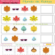 fichas de observacion, fichas de memoria visual, ficha otoño, fichas preescolar, actividades otoño, fall activities, preschool, fichas preescolar, juego de memoria, juego de observacion,