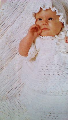 Vintage Crocheted Christening Dress Bonnet by MAMASPATTERNS, $3.50