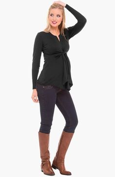 Olian Tie Front Maternity Top available at #Nordstrom.  Wine.  Xs.  Small