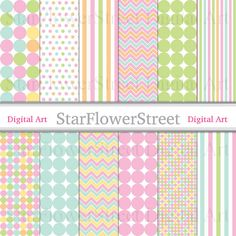 Dot Digital Paper Pattern Digital Paper Scrapbook pink green polka dot stripe chevron photography spring easter printable download sugar by StarFlowerStreetDA #DigitalPaper