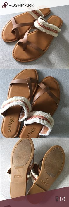 Summer sandals!!!! NEW! Beautiful brown and white with some orange details sandals! Size 8.5! Perfect for beach days! Shoes Sandals