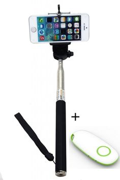 KINGCO Extendable Self-portrait Wireless Bluetooth Remote Camera Shooting Shutter Monopod Selfie Handheld Stick Pole with Mount Holder for IOS Android Smartphone Tablet(Black Monopod with Shutter New Green) Extendable handheld selfie stick for iphone 4 5 5s, samsung S3 S4 Ajustable phone adapter fits all phone width less than 8.5 cm Easy self-timer-- any angle, long distance, no hand to twist or shaking. Freely to enjoy photographing