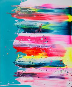 colors on a canvas. Turquoise. Pink.