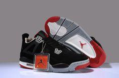 best service 00fdf bb6e3 Air Jordan 4 RETRO A Black Grey Red Men s shoes Cheap Sneakers Online,