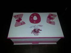 boîte à bijoux 28x17cm avec prénom : COULEURS blanc et rose