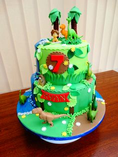 The Good Dinosaur 2-Tier Birthday Cake - For all your cake decorating supplies, please visit craftcompany.co.uk