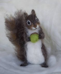 Needle Felted Squirrel Grey Poseable