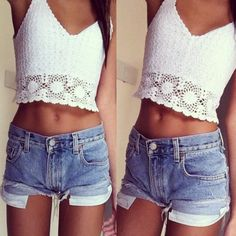 Crop tops and high denim shorts
