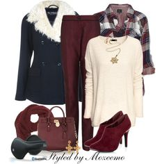 """Burgundy & Blue Pants Outfit"" by mozeemo on Polyvore"