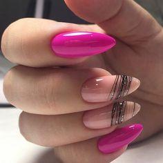 55 Exciting Nail Art Designs For you Elegant Nails, Stylish Nails, Almond Acrylic Nails, Pink Nail Art, Hair Skin Nails, Hot Nails, Nagel Gel, Nail Manicure, Spring Nails