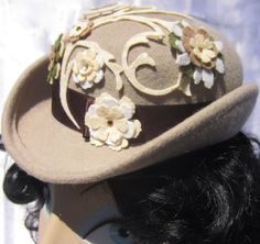 Hat  - Steampunk - Goth - Burlesque - Victorian - Bowler - The Tilted Irene in khaki with flowers, Mini Bowler, Noxenlux Chapeaux