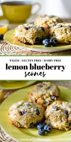 These delicious paleo lemon blueberry scones make a great breakfast or snack. So easy you can make them in one bowl and just drop them on a baking sheet!
